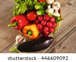 fresh vegetables on a clean... | Shutterstock . vector #446609092