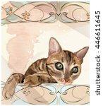 portrait of  the cat in... | Shutterstock .eps vector #446611645