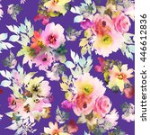 seamless pattern with flowers... | Shutterstock . vector #446612836