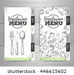 vintage vegetarian menu design. ... | Shutterstock .eps vector #446615602