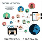 global social network abstract... | Shutterstock .eps vector #446626756
