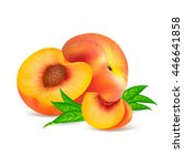 whole peach fruit and his...   Shutterstock .eps vector #446641858