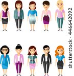 set of icons business woman in... | Shutterstock .eps vector #446642092