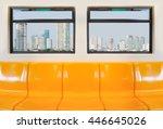 yellow seats in electric train... | Shutterstock . vector #446645026