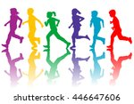 colorful silhouettes of... | Shutterstock .eps vector #446647606