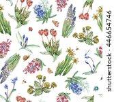 bright hand drawn spring...   Shutterstock . vector #446654746