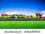 flower garden. green grass and... | Shutterstock . vector #446658955