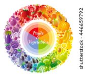 vegetarian rainbow plate. fruit ... | Shutterstock .eps vector #446659792