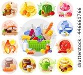 supermarket shopping bag icons... | Shutterstock .eps vector #446661766