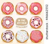 doughnut set   vector... | Shutterstock .eps vector #446662552