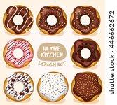 doughnut set   vector... | Shutterstock .eps vector #446662672