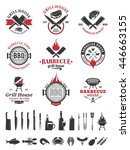barbecue black and red logo and ... | Shutterstock .eps vector #446663155
