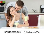 happy husband kissing on cheek... | Shutterstock . vector #446678692
