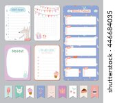 cute calendar daily and weekly... | Shutterstock .eps vector #446684035