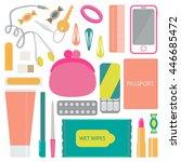 headphones  candy  purse  hair... | Shutterstock .eps vector #446685472