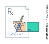 doctor signing a rx... | Shutterstock .eps vector #446704168