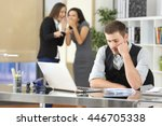 two coworkers bullying a... | Shutterstock . vector #446705338