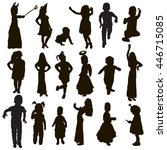 Stock vector vector isolated silhouette set of children 446715085