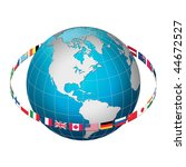 globe earth with flag ring ... | Shutterstock . vector #44672527