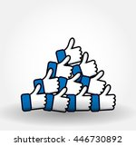 blue button hand like icon... | Shutterstock .eps vector #446730892