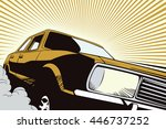 auto in retro style pop art and ... | Shutterstock .eps vector #446737252