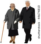 an old couple walking together. ... | Shutterstock .eps vector #44674810