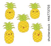 set of cute pineapples with... | Shutterstock . vector #446773705
