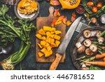 chopped pumpkin on rustic... | Shutterstock . vector #446781652