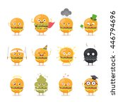 funny cartoon burgers. vector... | Shutterstock .eps vector #446794696