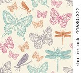 seamless with butterfly and... | Shutterstock .eps vector #446805322