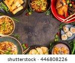 chinese food dark background.... | Shutterstock . vector #446808226