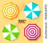 bright colors beach umbrellas... | Shutterstock .eps vector #446816992