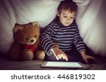 cute little kid with his friend ... | Shutterstock . vector #446819302