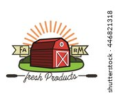 color vintage farm emblem | Shutterstock .eps vector #446821318