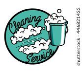 color vintage cleaning service... | Shutterstock .eps vector #446821432