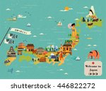 japan travel map design   let's ... | Shutterstock .eps vector #446822272