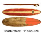 vintage surfboard isolated on... | Shutterstock . vector #446823628