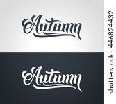 autumn word hand lettering.... | Shutterstock .eps vector #446824432