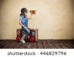 child pretend to be sailor. kid ...   Shutterstock . vector #446829796