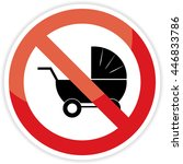 no strollers sign on white... | Shutterstock .eps vector #446833786