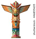 totem pole with many animal... | Shutterstock .eps vector #446855635