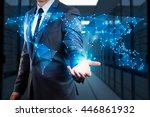 businessman showing  global... | Shutterstock . vector #446861932