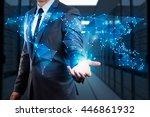 businessman showing  global... | Shutterstock . vector #446861932