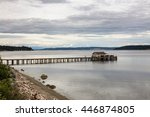 little cozy house on the pier... | Shutterstock . vector #446874805