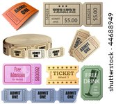 vector set of tickets and... | Shutterstock .eps vector #44688949