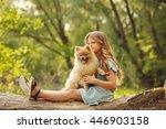 little girl hug a pet. girl... | Shutterstock . vector #446903158