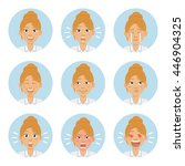 set of businesswoman emoticons. ... | Shutterstock .eps vector #446904325