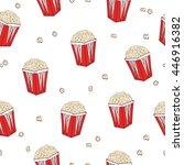 popcorn seamless pattern.... | Shutterstock .eps vector #446916382