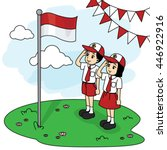 primary school students giving... | Shutterstock .eps vector #446922916