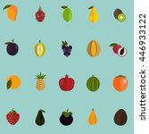 set of twenty color flat fruits ... | Shutterstock .eps vector #446933122
